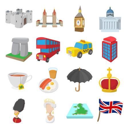 Icônes Angleterre fixés dans le style de dessin animé, isolé, blanc Banque d'images - 52995627