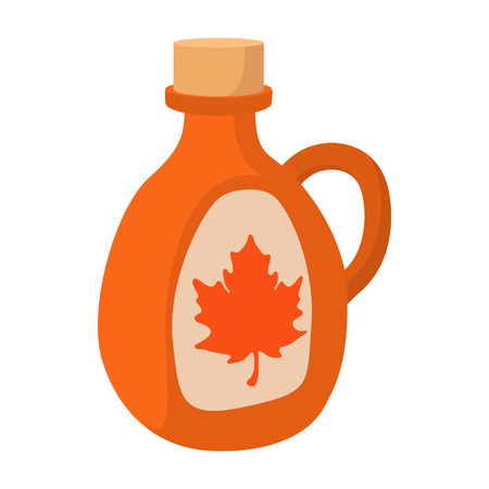 Bottle of maple syrup icon in cartoon style on a white background Illustration