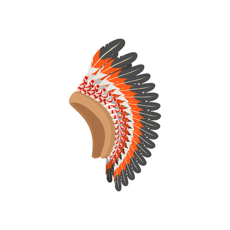 ethnicity: Native American feather headdress icon in cartoon style on a white background