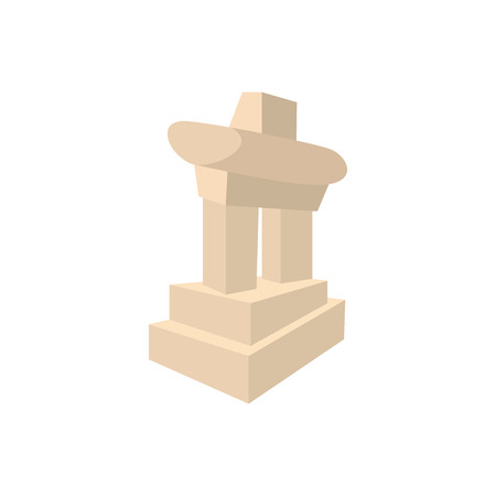 inukshuk: Inukshuk in Canada icon in cartoon style on a white background