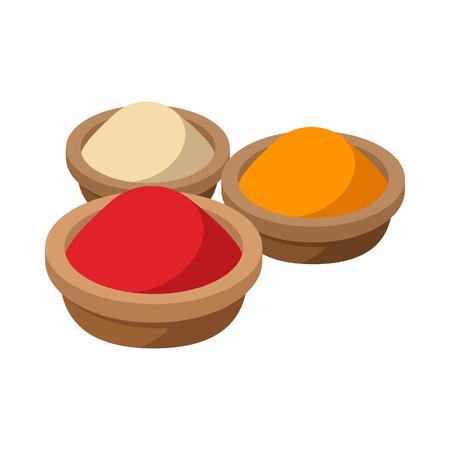 Indische Gewürze Symbol im Cartoon-Stil auf einem weißen Hintergrund Standard-Bild - 52995712