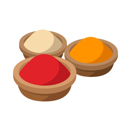 Indian spices icon in cartoon style on a white background Vettoriali