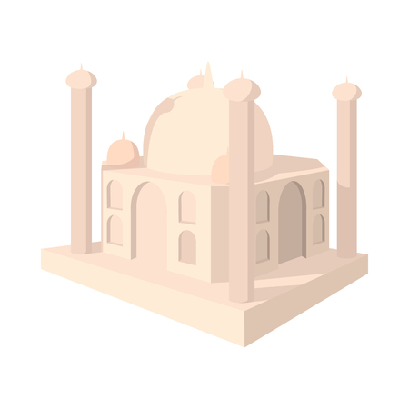 mahal: Taj Mahal, India icon in cartoon style on a white background Illustration