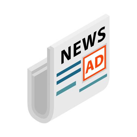 La rivista, i giornali e l'opuscolo stanno con un posto per l'icona di pubblicità nello stile isometrico 3d su un fondo bianco
