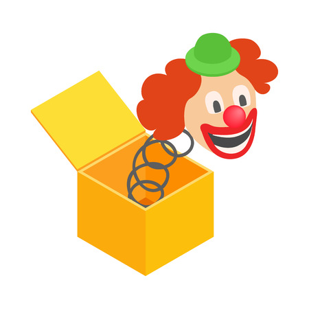 jukebox: Clown jumps out of the box icon in isometric 3d style on a white background Illustration