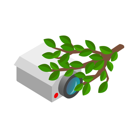 press agent: Camera hidden in the bushes icon in isometric 3d style on a white background