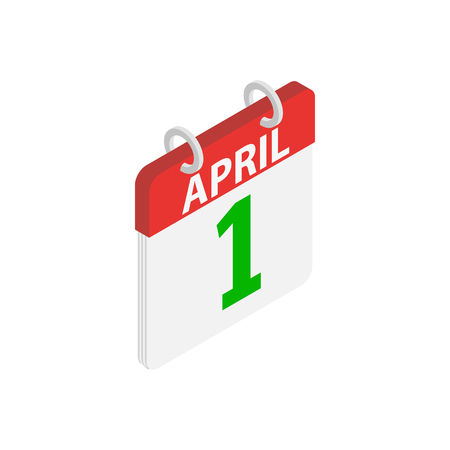 April 1, April Fools Day calendar icon in isometric 3d style on a white background