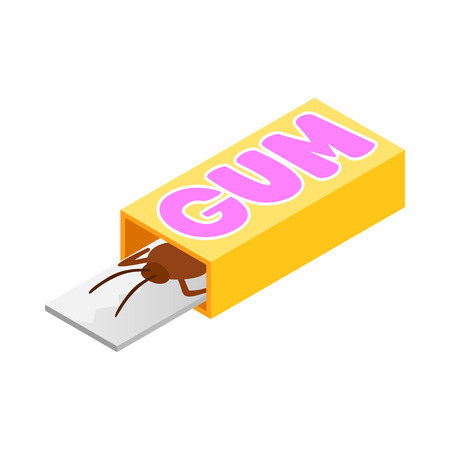 cockroach: Cockroach in a box of gum icon in isometric 3d style on a white background