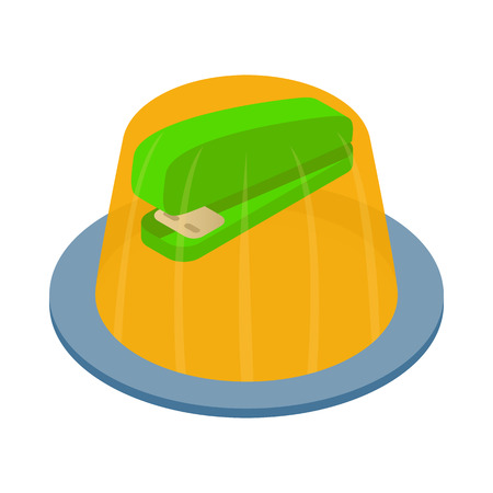 hoax: Stapler in the jelly icon in isometric 3d style on a white background
