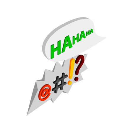 ha: Haha comic speech bubble with computer symbols icon in isometric 3d style on a white background