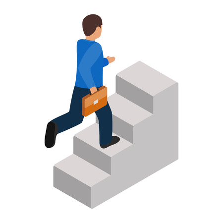 career up: Businessman runs up the career ladder icon in isometric 3d style on a white background Illustration
