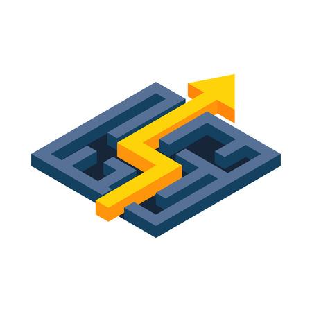 Gelber Weg mit Pfeil über Labyrinth-Symbol in der isometrischen 3D-Stil auf einem weißen Hintergrund