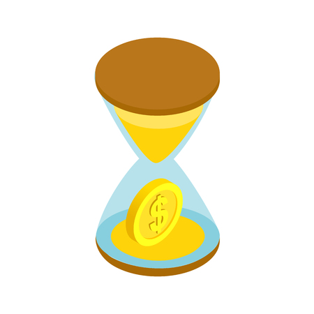 time account: Sand clock with gold dust and coins icon in isometric 3d style on a white background. Time is money