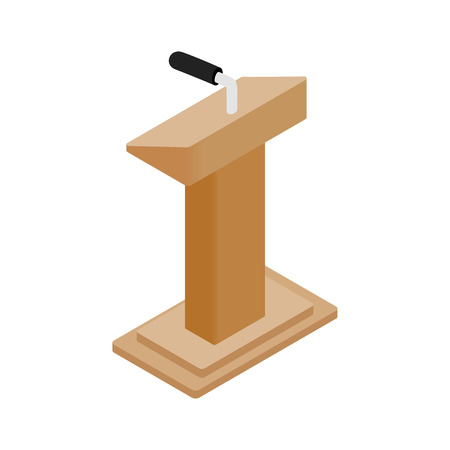 rostrum: Wooden podium tribune rostrum stand with microphone icon in isometric 3d style on a white background Illustration