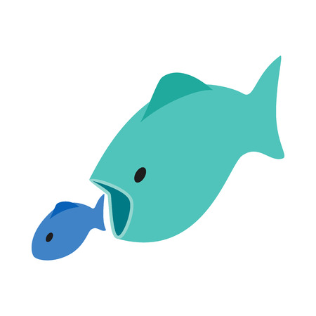 Big fish eats little fish icon in isometric 3d style on a white background
