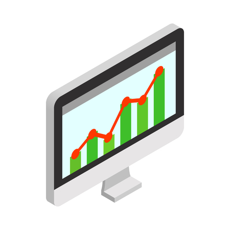 ascendant: Graph on the computer monitor icon in isometric 3d style on a white background Illustration