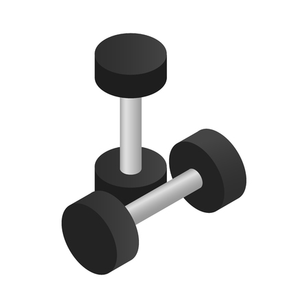 dumbbell: Pair of dumbbell icon in isometric 3d style on a white background