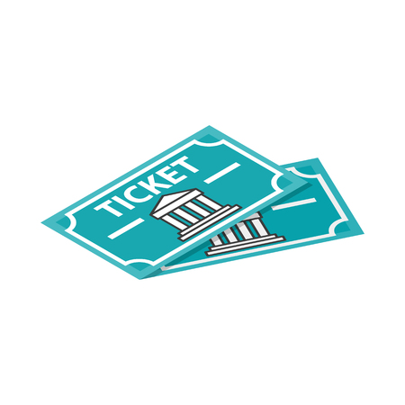 museum: Two museum tickets icon in isometric 3d style on a white background