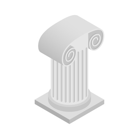 column icon: Roman column icon in isometric 3d style on a white background Illustration