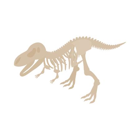 tyrannosaur: Dinosaur skeleton icon in isometric 3d style on a white background