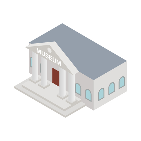 roman column: Museum icon in isometric 3d style on a white background