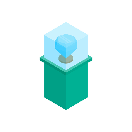 blue diamond: Showcase with blue diamond icon in isometric 3d style on a white background Illustration