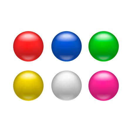 magnets: Colorful glossy badges, magnets icon in realistic style on a white background Illustration