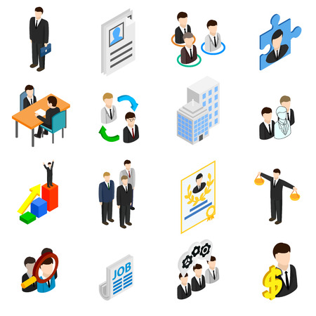 resources: Human resources icons set in isometric 3d style isolated on white Illustration