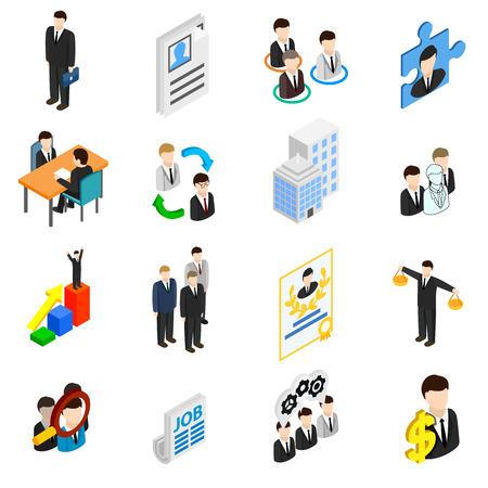 Iconos de recursos humanos establecidos en estilo isométrica 3d aislado en blanco