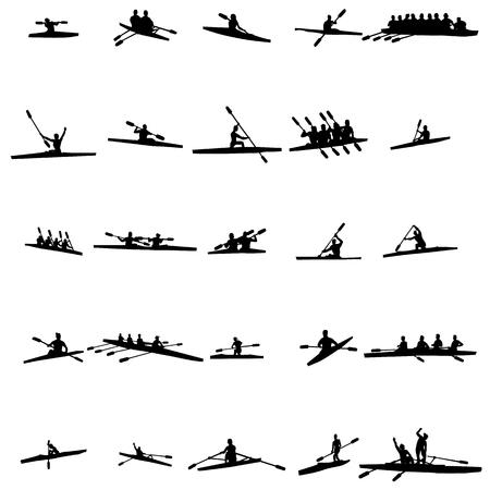 black white kayak: Rowing silhouette set isolated on white background