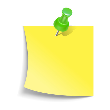 yellow tacks: Note paper with push pin icon in realistic style on a white background