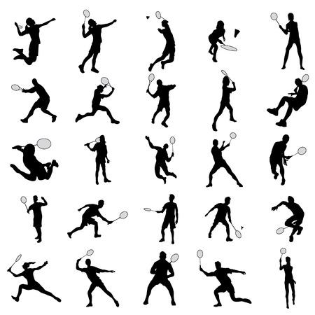 jeu Badminton silhouette isolé sur fond blanc