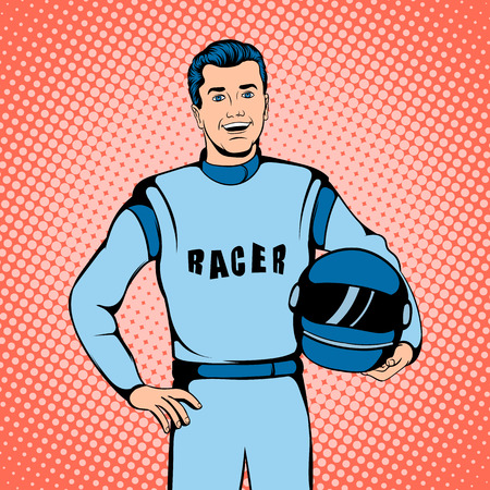 car driver: Racer concept in comics style for any design