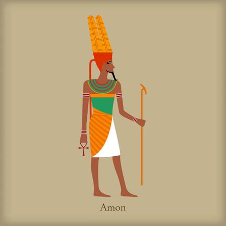 Amon, dieu de l'icône du vent dans le style à plat sur un fond brun Illustration