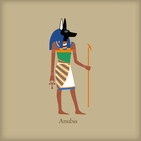anubis: Anubis, God of the dead icon in flat style on a brown background