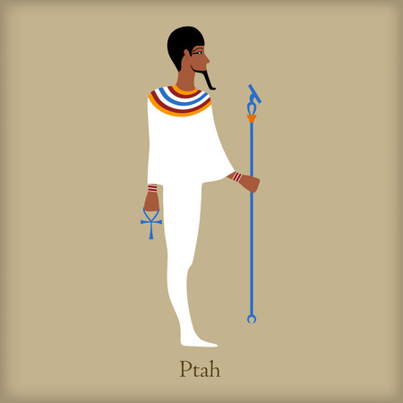 Ptah, God of creation icon in flat style on a brown background