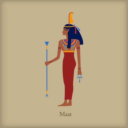 茶色の背景にフラット スタイルのアイコンを正義の女神マアト