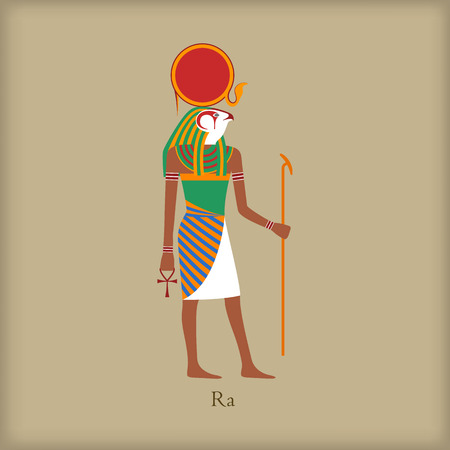 ra: Ra, God of the sun icon in flat style on a brown background
