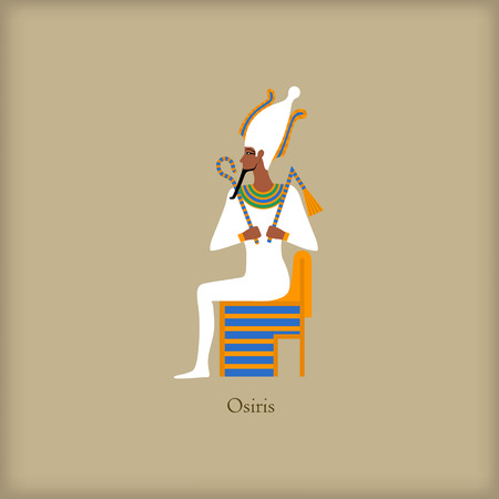 mummification: Osiris - God of the underworld icon in flat style on a brown background Illustration
