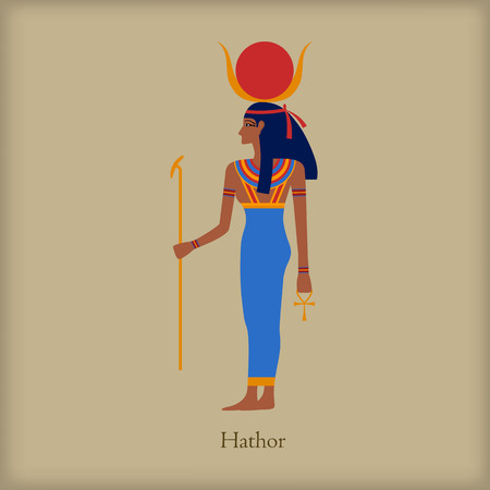 cult tradition: Hathor, Goddess of love icon in flat style on a brown background