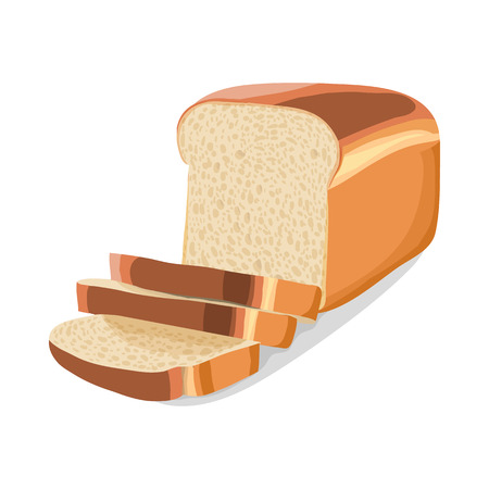 white bread: Wheat sliced bread icon in cartoon style on a white background