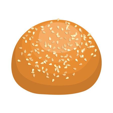 sesame seeds: Round bread bun with sesame seeds icon in realistic style on a white background