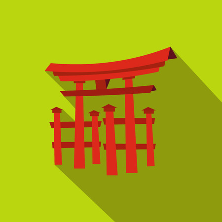 miyajima: Floating Torii gate, Japan icon in flat style on a green background Illustration