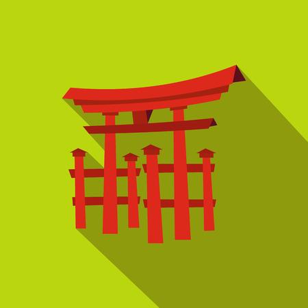 itsukushima: Floating Torii gate, Japan icon in flat style on a green background Illustration