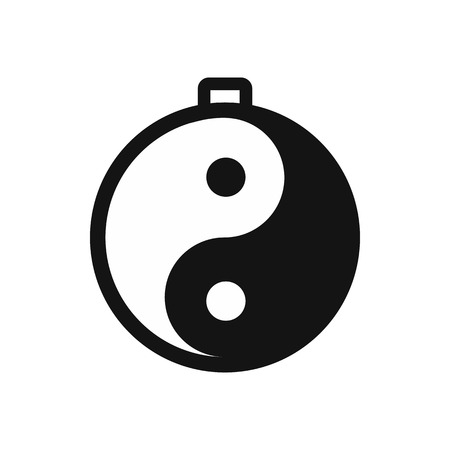 daoism: Amulet of yin yang icon in simple style isolated on white