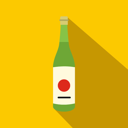Sake bottle icon in flat style on a yellow background