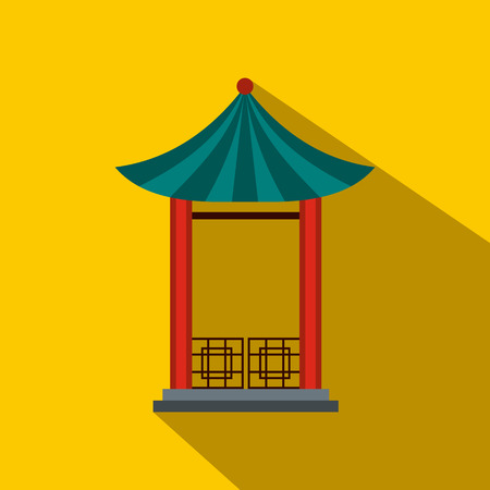 pavilion: A japanese lotus pavilion icon in flat style on a yellow background