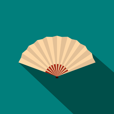 paper fan: Japanese folding fan icon in flat style on a blue background Illustration