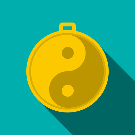 amulet: Amulet of yin yang icon in flat style on a blue background