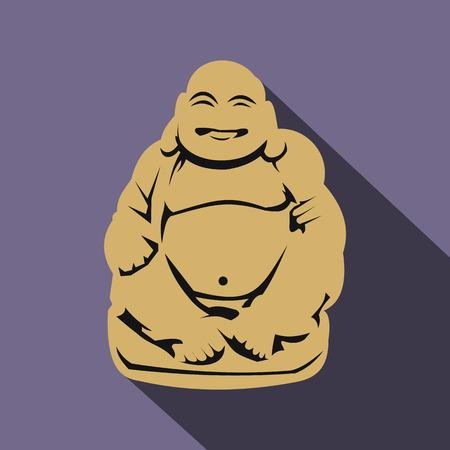 plenitude: Hotei or Budai, Japanese Netsuke icon in flat style on a violet background Illustration